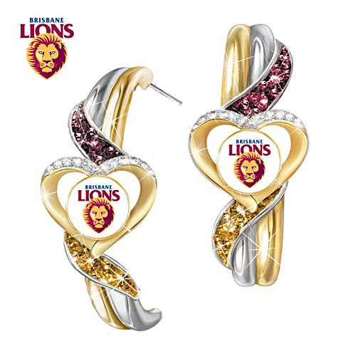 AFL Brisbane Lions Pride Earrings With Team-Colour Crystals