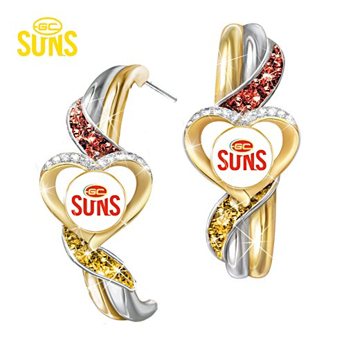 AFL Gold Coast Suns Pride Earrings With Team-Colour Crystals