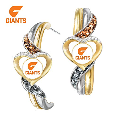 AFL GWS Giants Pride Earrings With Team-Colour Crystals