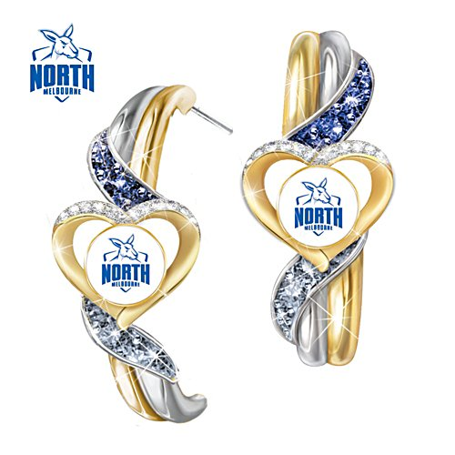 AFL North Melbourne Kangaroos Pride Earrings With Team-Colour Crystals