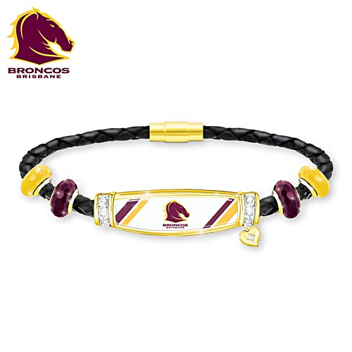 NRL Brisbane Broncos Ladies Leather Bracelet