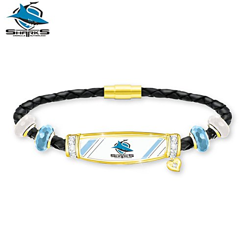 NRL Cronulla Sharks Ladies Leather Bracelet