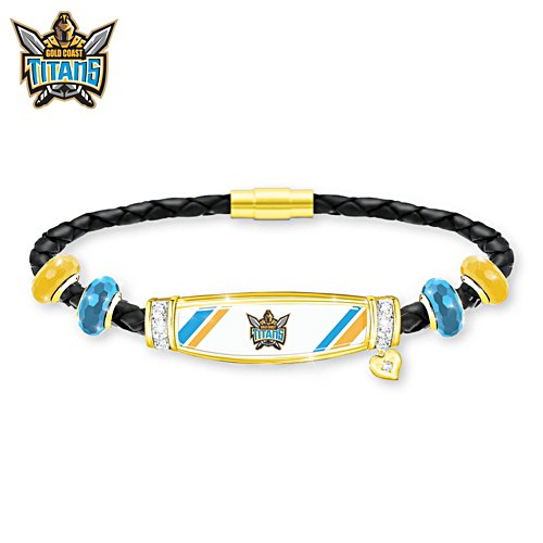 NRL Gold Coast Titans Ladies Leather Bracelet
