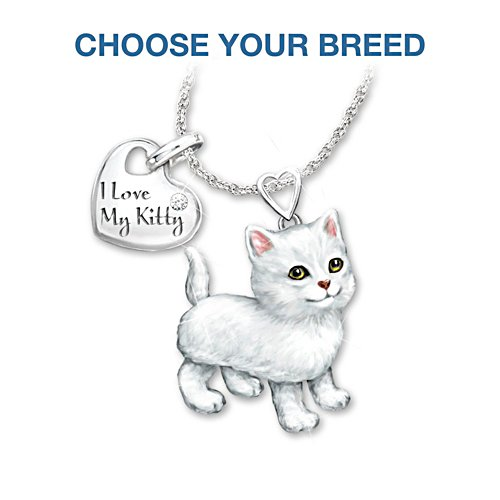 """Frisky Kitty"" Diamond Pendant Necklace: Legs & Tail Move"