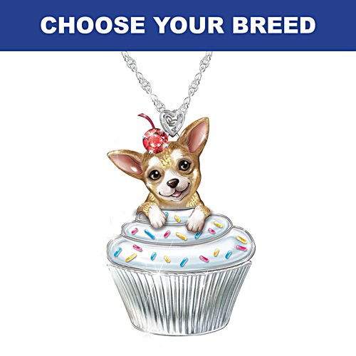 """""""Sweetest Pupcake"""" Necklace With Crystal: Choose Your Breed"""