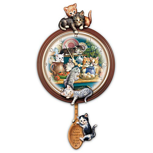'Kitchen Capers' Cat Art Wall Clock