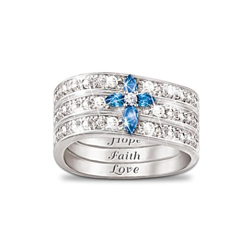 'Faith, Hope & Love' Diamond Sapphire Ring