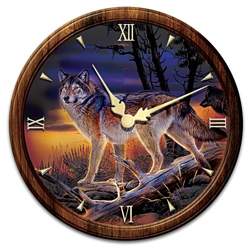 Illuminated Al Agnew Wolf Art Stained-Glass Wall Clock