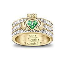 'Blessing Of The Claddagh' Emerald And Diamond Ring