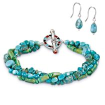 """Nature's Gifts"" Turquoise Bracelet And Earring Set"