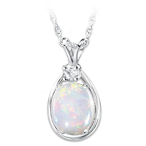 Shimmering Elegance Opal And Diamond Necklace