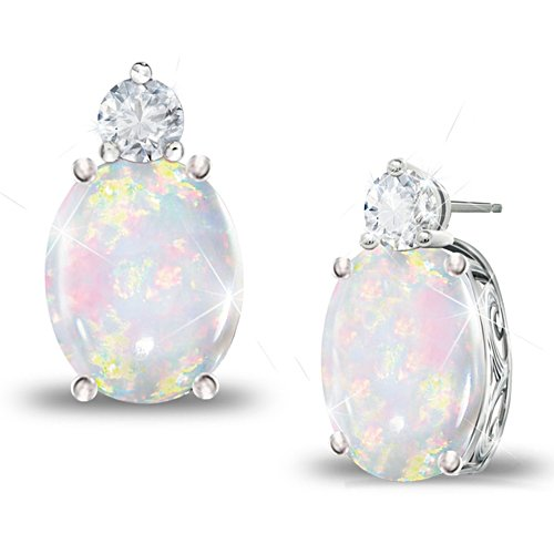 'Shimmering Elegance' Australian Opal And Diamond Earrings