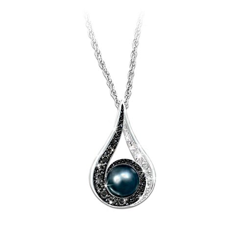 Diamond And Black Pearl Pendant