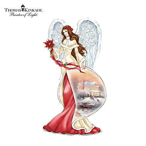 "Thomas Kinkade ""Poinsettia"" Illuminating Angel Figurine"