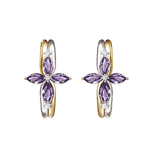 The Trinity Amethyst And Diamond Earrings