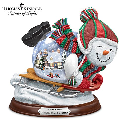 Thomas Kinkade Village Inside A Sledding Snowman Snow Globe