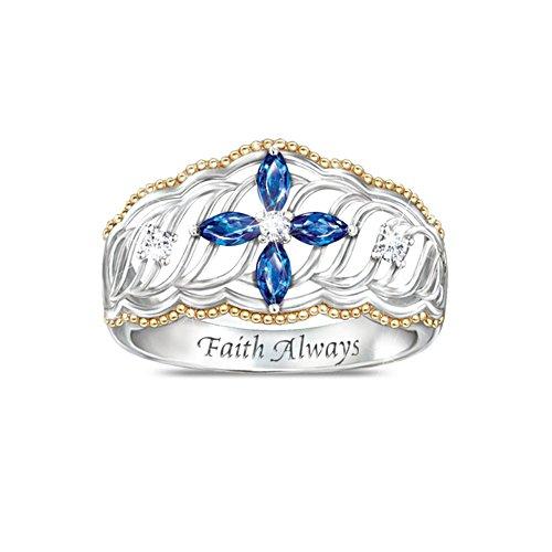 Holy Trinity Cross Sapphire and Diamond Ring