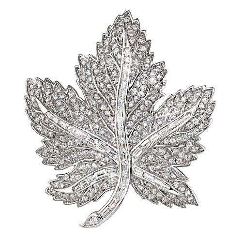 Fit For Royalty Canadian Pride Maple Leaf Crystal Brooch