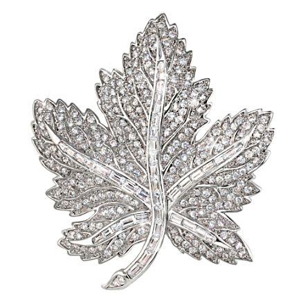Fit For Royalty Canadian Pride Maple Leaf Crystal Brooch