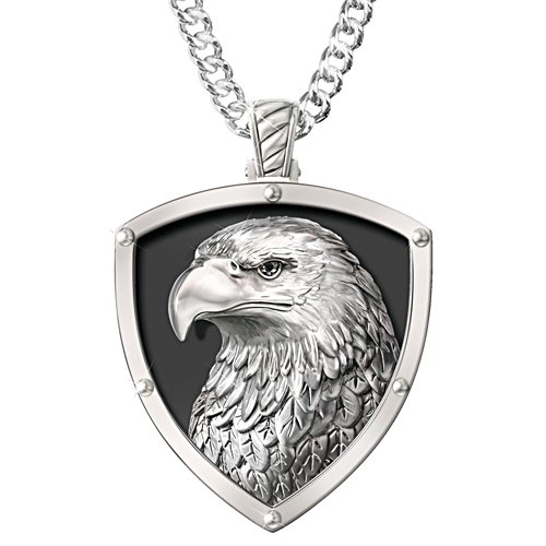 """Strength And Pride"" Stainless Steel Eagle Pendant Necklace"