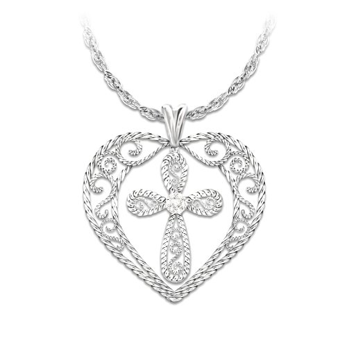 """Blessed Daughter"" Sterling Silver Pendant With Diamond"
