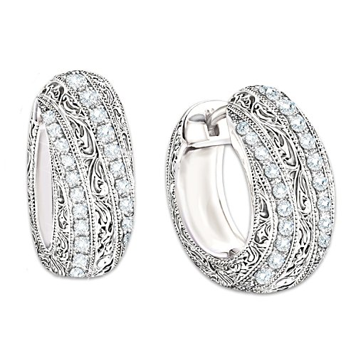 """Diamond Elegance"" 12-Diamond Hoop Earrings"
