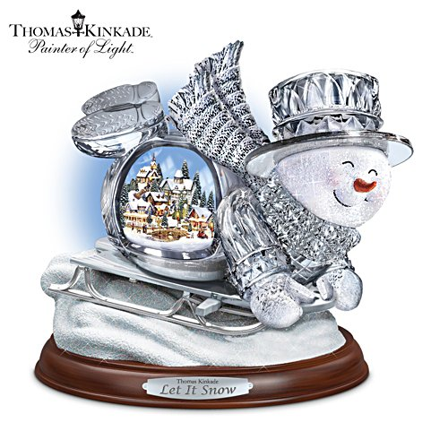 Thomas Kinkade Illuminated Musical Sledding Snowman
