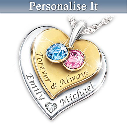 """Forever & Always"" Engraved Couples Birthstone Necklace"