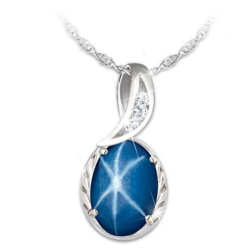 """Sky Gazer"" Created Star Sapphire Pendant Necklace"