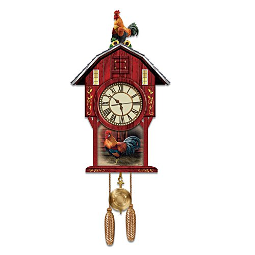 Rosemary Millette Rooster Art Wall Clock