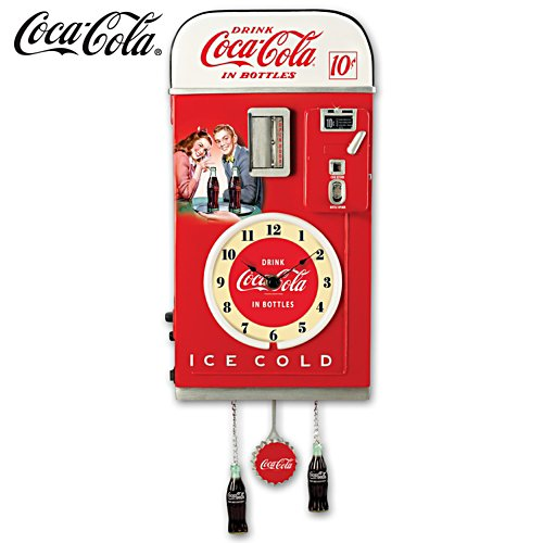 COCA-COLA 1950s-Style Vending Machine Wall Clock