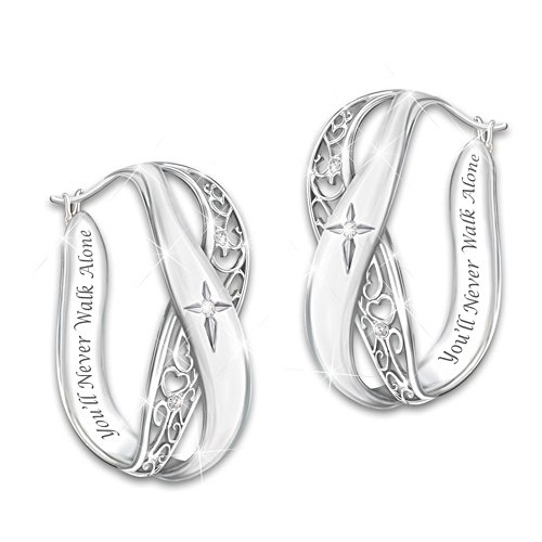 """Pure Faith"" Solid Sterling Silver and Diamond Earrings"
