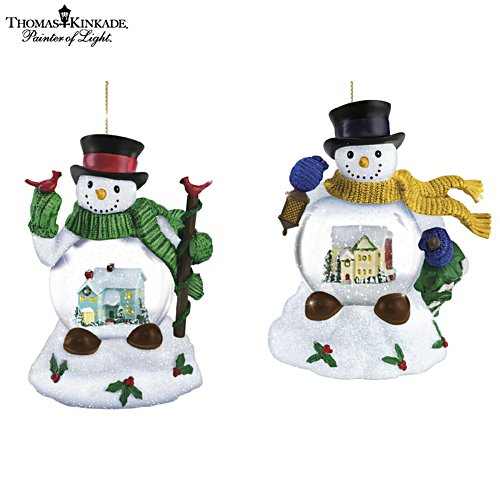 Thomas Kinkade Holiday Scene In Snowman Snowglobe Ornaments