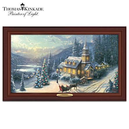 Thomas Kinkade Sunday Evening Sleigh Ride Lit Canvas Print