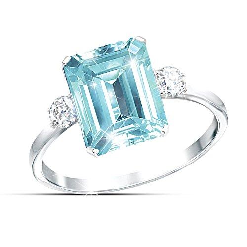 """Aqua Allure"" Princess Diana Commemorative Diamonesk Ring"