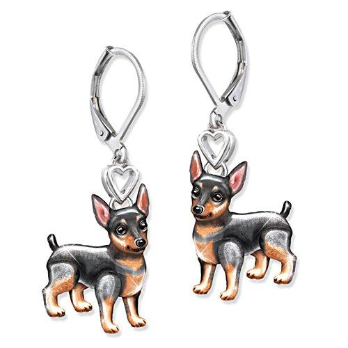'Playful Pup' Miniature Pinscher Earrings