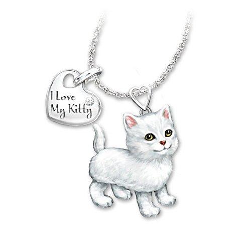 'White Frisky Kitty' Diamond Pendant