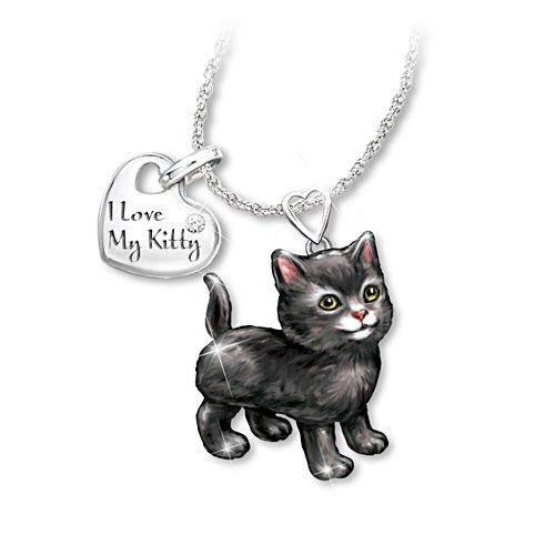 'Black Frisky Kitty' Diamond Pendant
