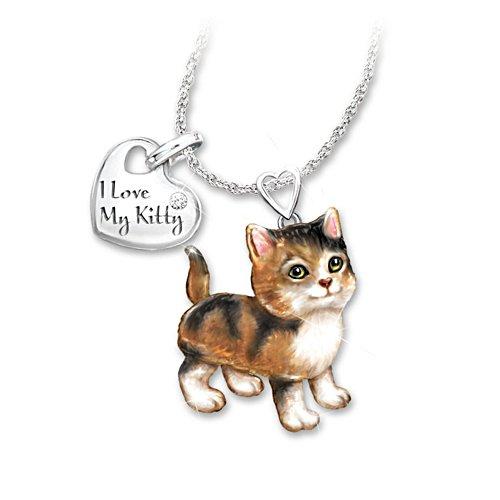 'Calico Frisky Kitty' Diamond Pendant