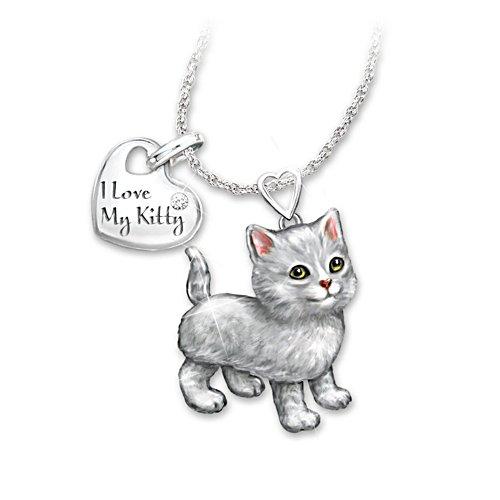 'Grey Tabby Frisky Kitty' Diamond Pendant
