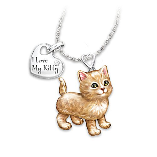 'Orange Tabby Frisky Kitty' Diamond Pendant