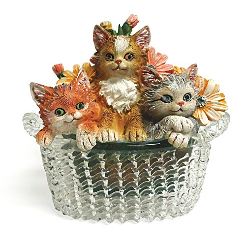 Garden Purr-fection Figurine with Glass Basket