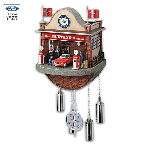 Ford Mustang Garage Cuckoo Clock With Sound and Motion