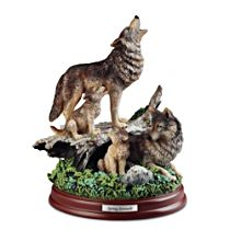 """Spring Serenade"" Wolf Pack Sculpture"