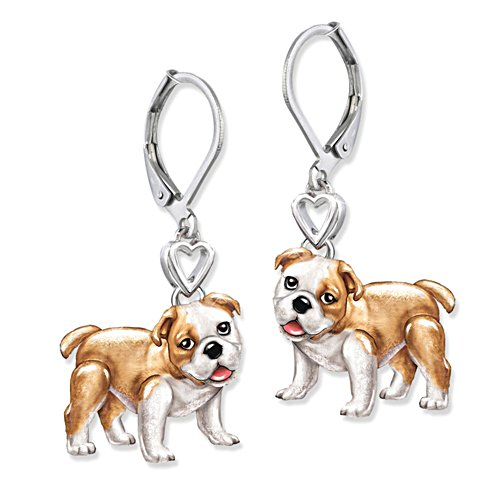 'Playful Pup' Bulldog Earrings