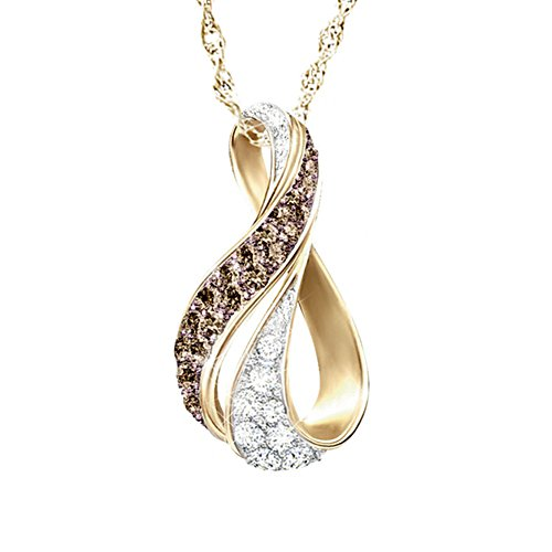 """Sweet Decadence"" Mocha And White Diamond Pendant Necklace"