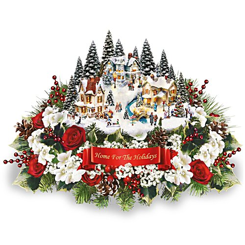 Thomas Kinkade 'Home For The Holidays' Floral Centrepiece