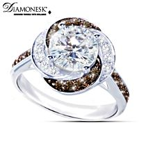 """White Russian"" Mocha And White Diamonesk Women's Ring"