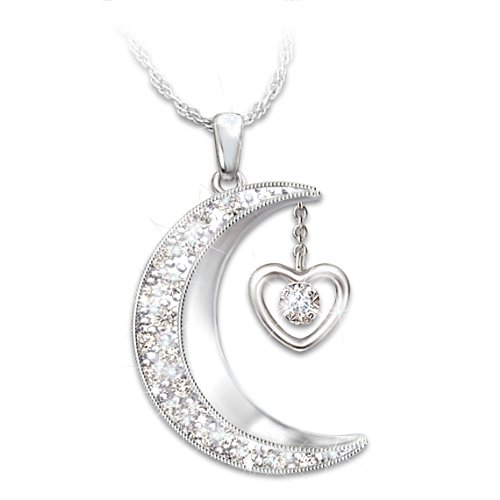 Great Granddaughter, I Love To The Moon And Back Diamond Pendant Necklace