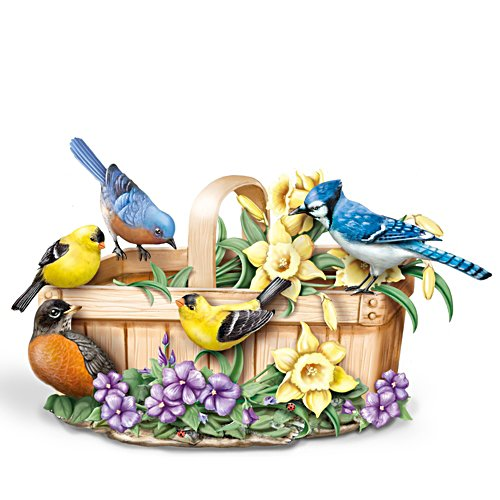 """Springtime Serenade"" Touch-Activated Singing Bird Sculpture"